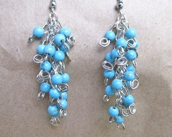 Cluster Earrings in  Turquoise Beads