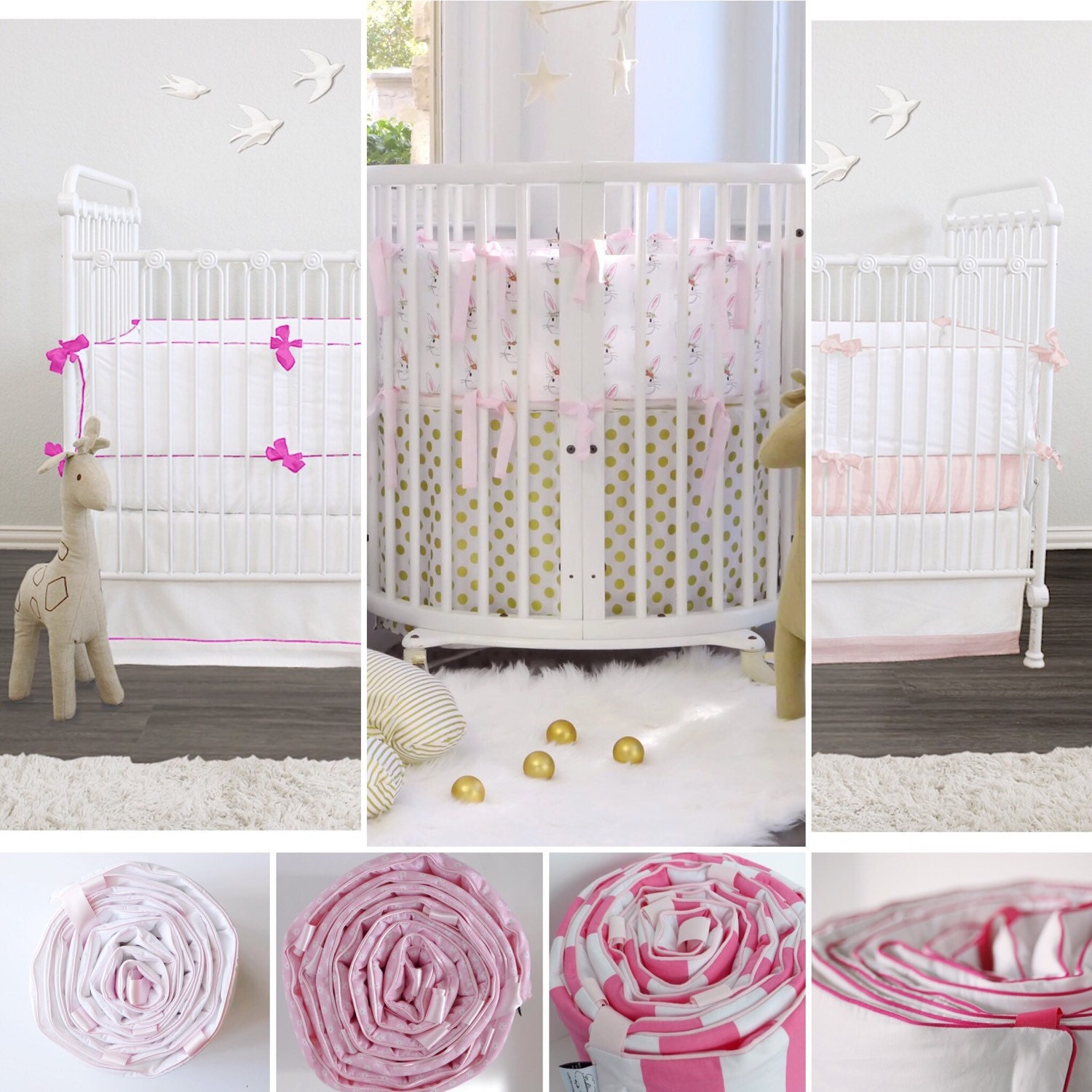 custom baby bedding  stokke bedding  pink   premium - custom baby bedding  stokke bedding  pink   premium combed percalecotton  choose your fabric  choose your trim