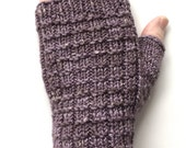 Handknit Fingerless Gloves for Women, Teen Girls, Texting Gloves, Hand Warmers, merino wool/silk blend gloves, mauve gloves, lavender gloves