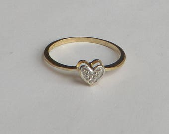 Petite Diamond Ring in solid 10K Y Gold, size 7.5, 3 tiny diamonds in a heart setting, free US first class shipping on vintage items