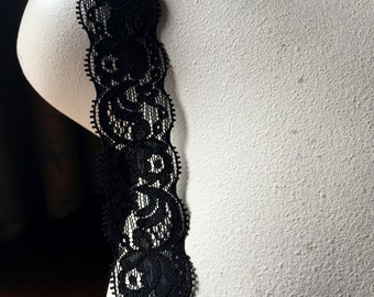 5 yds. BLACK Stretch Lace for Headbands, Lingerie  STR 1109