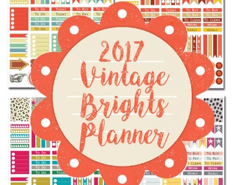 2017 Vintage Brights Planner Stickers Printable