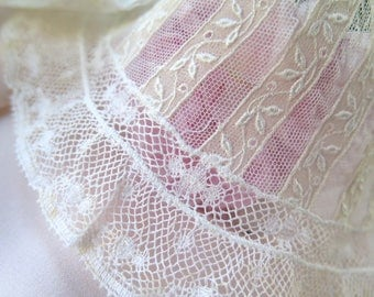 Antique Tulle Lace Collar in Stripes of Assorted Valencienne and Embroidered Laces in Ivory Cotton