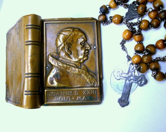 Pope John XXIII  Rosary Holder, Brass Very Used Box, 1960s,  Free Vintage Glass Rosary Included, He Blessed Me