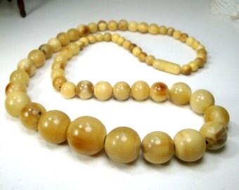 Buffalo Horn Bead LONG Necklace, ALL HORN Tan Beige Graduated Round Beads  1970s Recycled Ecochic Naturals, Hidden Screw Catch