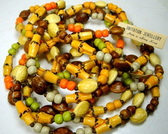 2 LONG Vintage Faux Bamboo Bead Necklace, Hong Kong 1950s, Get Out The Palazzos, Each is 52 Inches.. WOW, Resin & Glass