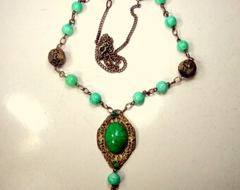 1930's  Czech Glass Green and Gold Necklace with Ornate Filigree & Glass Pendant. Lavalier Chain, Beads, Rhinestones, Cabs
