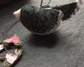 stitched junco or snow bird - soft sculpture