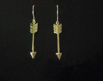 Gold Arrow earrings - Arrow Drop Earrings