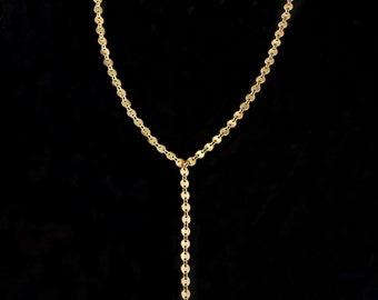 Disc Lariat Necklace, Y Disc Lariat Necklace, Coin Lariat Necklace, Tiny Disc Lariat, Y Necklace, Disc Y Necklace