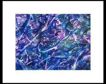 8X10 Blue Purple Encaustic (Wax) Abstract Original Painting / SFA (Small Format Art) / Blue, Violet, Green