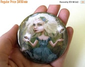 Cyber Monday sale Pocket Mirror 'If You Love Them, Set Them Free' - Small Round Mirror Featuring Original Jessica Grundy Artwork