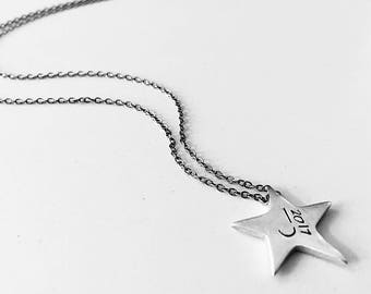 Graduation Necklace- Shining Star Initial Necklace- Handcrafted Sterling Silver Custom With One Initial