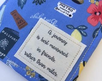Passport Holder, Passport Case, luggage tag set with friendship quote, girls trip, passport wallet, Rifle Paper Co pattern