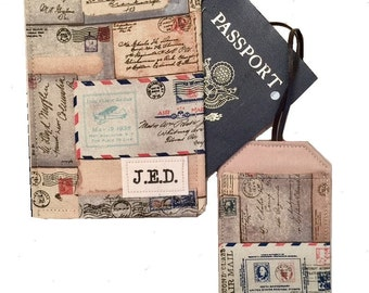 Personalized Passport Holder, Passport Wallet, Choose Fabric and Monogram Style, Passport Case, Passport Holder and Luggage Tag Set
