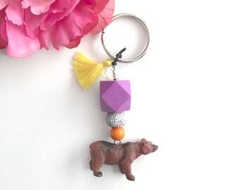bear keychain - beaded tassel keychain - bag charm keychain - bohemian womens accessory - women's gift