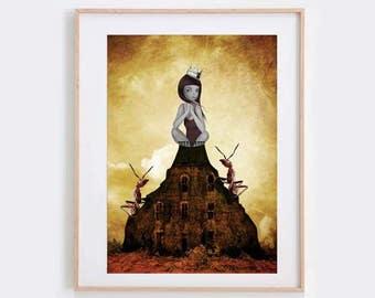 Pop Surrealism Art Print - Pop Surrealism Wall Decor - Pop Surrealism Girl - Ant Art Print - King Of The Castle