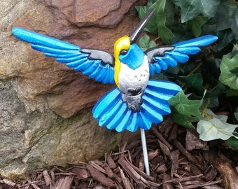 Garden Art, Outdoor Decor, Garden Decor, Blue and Yellow, Hummingbird, Garden Stake, Housewarming Gifts, Father's Day Gift, Gifts for Him,