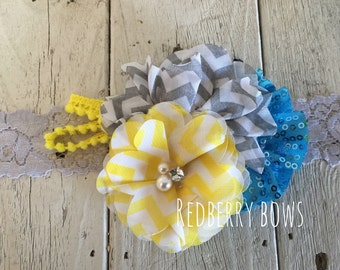 GRAY YELLOW TURQUOISE with Rhinestone and Pearl Flower Trio Headband