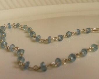 Tiny Dancer Bracelet, Sterling Silver with semi-precious Apatite crystals, pale aqua