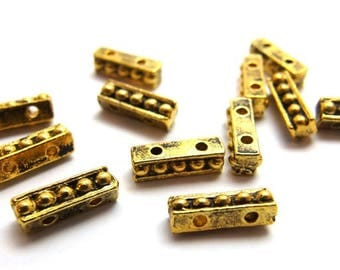 last stock / N104GA / 10Pc / 11mm x 3.5mm x 3.7mm - Antique Gold Plated 2-Strands Cast Separator Bars Findings.