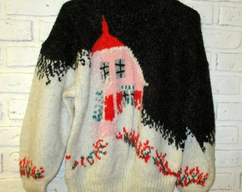 Vintage Women's Wool Hand Knitted Christmas Holiday Sweater with House