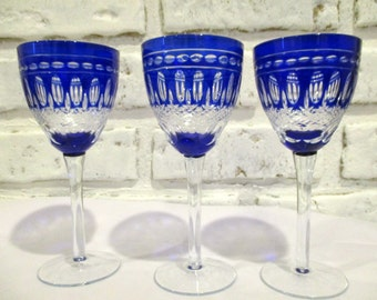 Vintage Cobalt Blue Cut to Clear Wine Glasses Set of Three 3 Footed Stemware
