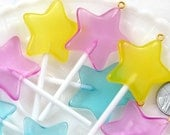 Lollipop Charm - 75mm Bright Star Shaped Fake Lollipop Kawaii Fairy Magic Wand Candy Resin Charms - Mixed Colors - 6 pc set