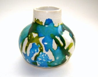 Bud Vase – Alcohol Ink – Blue Green – Ceramic Flower Holder – Handmade Pottery – Home Décor – Indoor Garden