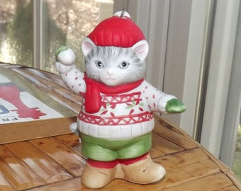 1985 Kitty Cucumber snow day ornament - charity for animals