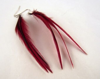 Badger Red Feather Earrings