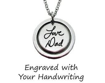 Custom Handwriting Madeline Pendant Necklace with your loved one's actual handwriting, Fine Pewter