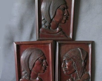 3 Fine Hand Carved Folk Art Plaques, Signed by Listed Artist G Arias