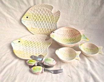 Vintage Knobler Ceramic Nautical Kitchen Serving Set of Eight Pieces Chip Cracker Dip Serving Individual Serving Set For Two Vintage Dining