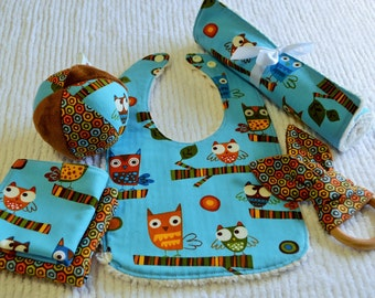 OWLS Baby Gift Set: bib, ball, burp cloth, wood teether, wash cloths