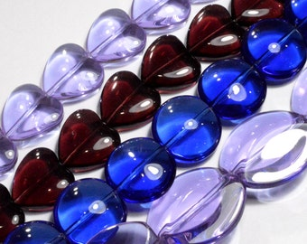 Sale - 4 strands Glass Beads -Blue, Amethyst, Violet