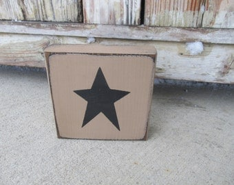 Primitive Country Star Customizable Hand Painted Sign Block GCC6506