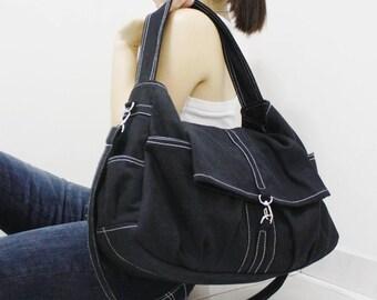 Shoulder Bag, Sling Bag, Tote, Diapers bag, Travel Bag, Crossbody Bag, Messenger Bag, Gift Ideas For Women - CLASSIC in Black - SALE 30% OFF
