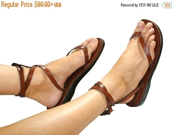 20% OFF Brown Ankle-Strap Leather Sandals for Men & Women - Handmade Sandals, Leather Flip Flops, Unisex Flat Sandals, Brown Leather Sandals