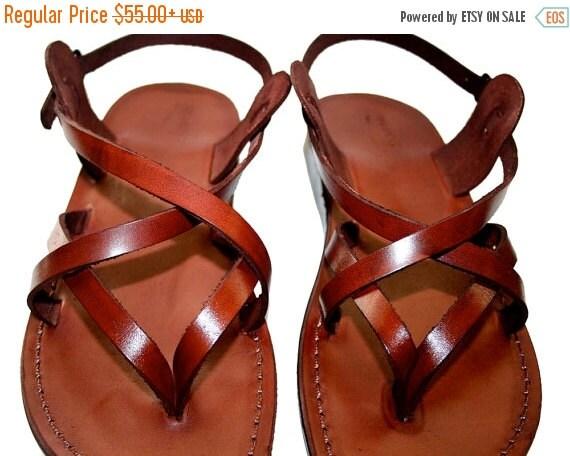 20% OFF Brown Mix Leather Sandals for Men & Women - Handmade Unisex Sandals, Flip Flop Sandals, Jesus Sandals, Genuine Leather Sandals