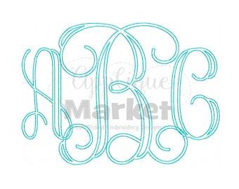 Machine Embroidery Design Applique Vine Bean Stitch Jumbo Monogram Alphabet INSTANT DOWNLOAD