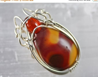 10% OFF HOLIDAY SALE Mookaite and Garnet - Wire Wrapped Talisman Amulet Pendant Unique Original Jewelry Design by Philip Crow