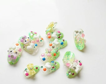 Press on nails, fake nails, neon color, festive nails, holiday nails, Christmas nail, bunny, Harajuku, Japanese 3D nail, kawaii, glittery