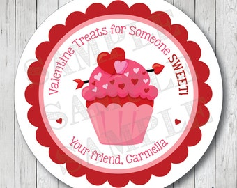 Valentine Cupcake Labels, Cupcake Valentine Stickers, Cupcake Valentine Tags . Choose Stickers or Tags