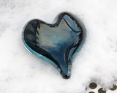 Deep Teal Glass Heart in ...