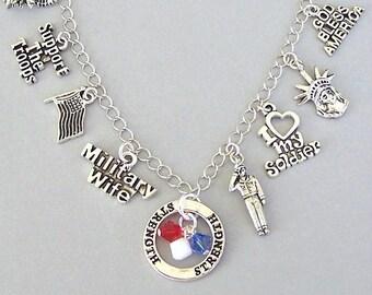 United States Army bracelet, Army mom, military wife, armed forces, Army wife gift, Army mom gift, US, Army charm, red white blue patriotic