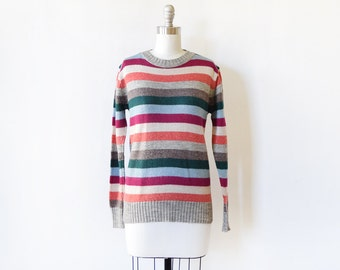vintage striped sweater, 1970s pullover knit sweater, 70s striped jumper, medium large
