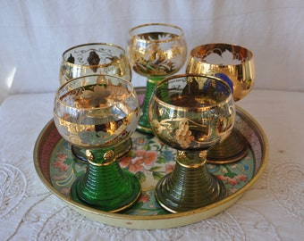 Set of Five Green and Gold Chalices/Vintage 1960s/Wittig Hadamar Wine Goblets/Beehive Bottom/Renaissance Style Feast Table Setting