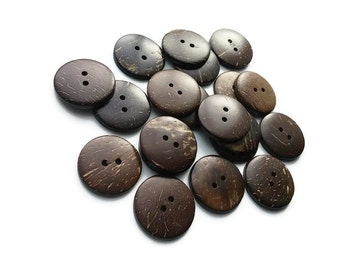 20 Brown Coconut Shell Buttons 25mm - Bulk Set 15% off (BC603X)