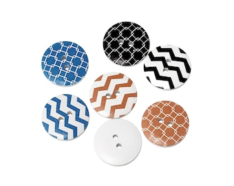 Chevrons wood sewing buttons - 6 Mixed Patterns craft buttons (BB107B)